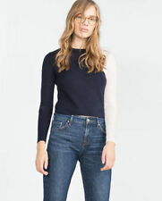 Zara Cropped Two-Tone Wool Mixed Blue & White Jumper Sweater