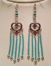 Native American Earring Set Silver & Seed Beads Heart Regalia Turquoise Cherokee