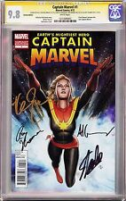CAPTAIN MARVEL #1 VARIANT (2012) CGC 9.8 SS Signed Stan Lee/DeConnick/Granov/+1!