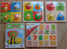 JOBLOT 6x WOODEN Lift out toy PUZZLES + 1 FREE! BigJigs & Kiddicare/ELC
