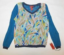 NWT MISSONI 4 TARGET WOMENS BLOUSE TURQUOISE BLACK MULTI COLOR LONG SLEEVE SZ XL