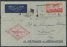 Lettre 1er vol 1937 FRANCE avec PA N°11 Paris Lomé (TOGO), first flight cover