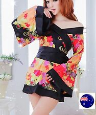 AU Women Lady Sexy Japan Kimono YUKATA Bath Robe Sleepwear Nighties Dress Gown