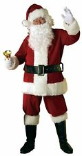 Mens Deluxe 8 Piece Velour Santa Suit Father Christmas Xmas FancyDress by Rubies