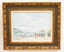 OIL PAINTING ON CANVAS OF A SHORE SCENE WITH PEOPLE SEATED AT TABLES... Lot 1332