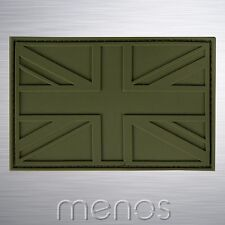 PVC Tactical Vinyl / Rubber Union Jack Morale Patch (Olive Green)