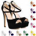 WOMENS HIGH HEEL STILETTO PLATFORM STRAPPY LADIES PEEP TOE SANDAL SHOES FASHION