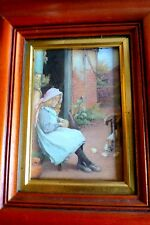 Print  of a sweet child /chick lovely  frame and gold plaque to front, - QUALITY