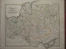 1846 SPRUNER ANTIQUE HISTORICAL MAP ~ POLAND & LITHUANIA 1125 to 1386