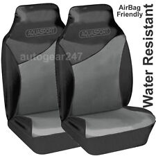 Black Grey Water Resistant Car Aquasport Air Bag friendly Front Seat Covers Pair