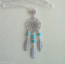 "Turquoise Stone Bead Dreamcatcher Feather Charm Pendant 32"" Long Chain Necklace"