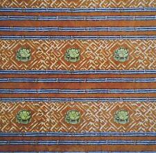 Vintage Copper & Lime Green Roses Southwest Design Velvet Upholstery Fabric 2 Yd