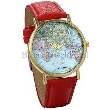 Fashion Colorful Globe World Map Womens PU Leather Band Analog Wrist Watch Gift