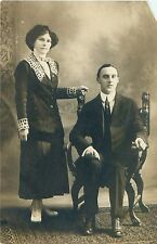 MAN & WOMAN IN STYLISH PERIOD CLOTHING REAL PHOTO POSTCARD c1910s