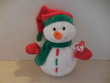 "TY Pluffies ICICLES the Snowman Plush Red Green White 8"" Baby Lovey NWT New"