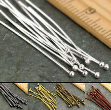 20mm 30mm 40mm 50mm Eye Pin Flat Head Pin Ball Pin Finding Silver Gold Bronze