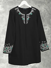 "NEW Ulla Popken plus size 16/18 20 (50"" chest) black embellished jacket"