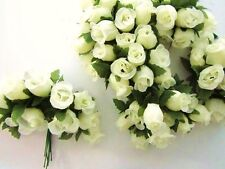 "144 Poly Silk Artificial Rose Flower 4"" Stem/Floral Bouquet/Wedding H415-Ivory"