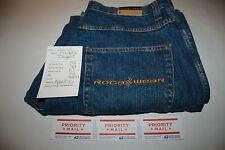 2608 MENS ROCAWEAR BLUE BAGGY/LOOSE FIT JEANS ACT SZ(34X34)TAG(34X34)