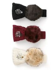 JUICY COUTURE BLACK LUXE FAUX FUR POINTELLE HEADBAND ORG. $58.00 ONE SIZE BNWT