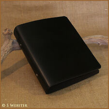 A5 BLACK LEATHER 2 RING BINDER, NOTEBOOK, FOLDER, ALBUM, free personalisation.