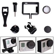 Frame Mount +UV Protective Glass Lens Cap+Tripod Adapters for GoPro Hero 3 3+ 4