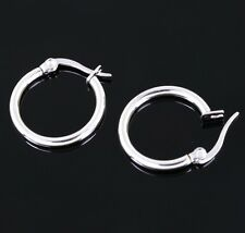 Stainless Steel Women Sleek Surgical Grade Hypoallergenic 19mm Hoop Earrings