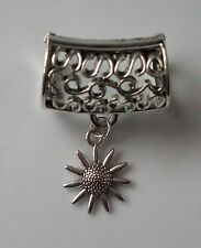 Scarf Bail Ring Sunflower Design Silver Coloured + Free Gift Bag