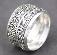Handmade Solid Sterling Silver .925 Bali Wave Style Wide Unisex Band Ring. Sz. 7