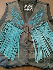 motorcycle leather vest small womens fringed fringe turquoise custom stitching