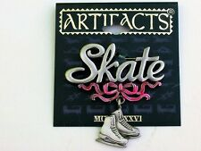 Ice Skates pair Pink Ribbon Sports Brooch Signed JJ Pewter Pin