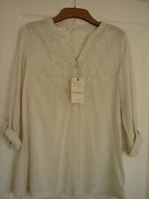 INDIGO COLLECTION ANTIQUE CREAM EMBROIDERED BOHO TOP. UK 12, EUR 40, US 8. BNWT