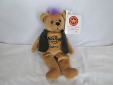 Rare 2009 HARD ROCK CAFE Stuffed Bear Punk Rocker Purple Mohawk BikerTatoo Tokyo