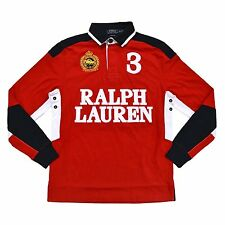 Polo Ralph Lauren Mens Rugby Shirt Long Sleeve JERSEY XXL 2XL RED SNOW CHALLENGE