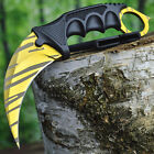 TACTICAL COMBAT KARAMBIT NECK KNIFE Army Hunting BOWIE Fixed Blade GOLD TIGER