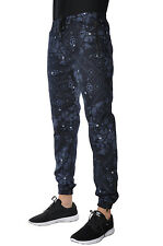 Twill Jogger Pants Slim Navy Floral Brass Knuckle Design Trousers Loungewear