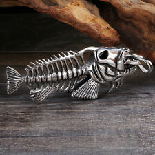 Large Biker 316L Stainless Steel Fish Bone Pendant For Men's Cool Holiday Gifts