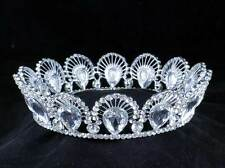 PEACOCK FULL CROWN CLEAR AUSTRIAN CRYSTAL RHINESTONE TIARA PAGEANT BRIDAL T11928