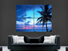 BLUE SUNSET BEAUTIFUL PALM TREE  ART HUGE  LARGE PICTURE POSTER GIANT