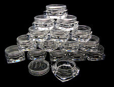 50 x Empty 3g Square nail container jar pot clear plastic screw nail art pots
