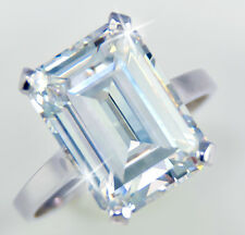 10 ct Emerald Cut Ring Vintage Top Russian AAAAA CZ Moissanite Simulant 14 kt
