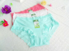 4 pcs XL Lace Mid-rised Bamboo Girl Women Briefs Panties Underpants Underwear