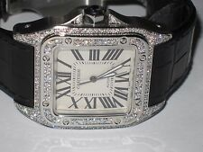 Mens Cartier Santos 100 XL Diamonds Everywhere