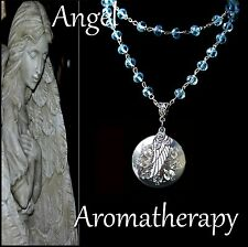 Essential Oil Diffuser Blue Flower Wing Locket Necklace Aromatherapy U.S. Seller