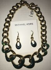 Michael Kors Autumn Luxe Gold Tone Green Chain Collar Necklace & Earrings Set