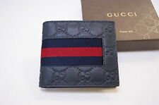 New Gucci Authentic Men's Blue GG Wide Web Bifold Leather Wallet