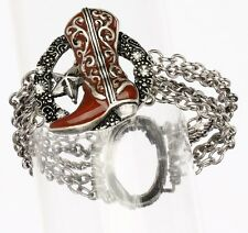 Western Boot Texas Star Crystals Silver Chains Cowgirl Stretch Bracelet