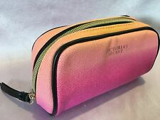 NEW VICTORIA'S SECRET ORANGE PINK MAKEUP COSMETIC BEAUTY SMALL POUCH CASE BAG