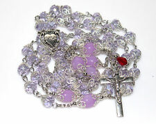 Silver, Light Purple Czech Crystal,Lilac Gemstone Rosary, & free Gift Mother Day