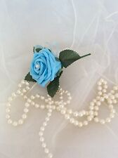 BLUE ROSE BUTTONHOLE ARTIFICIAL FOAM SINGLE FLOWER - WEDDINGS
